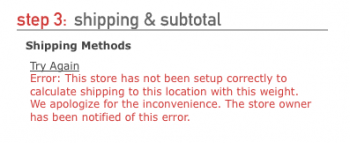 "What a shipping error looks like using the ""standard"" FoxyCart checkout theme."