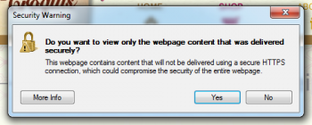 What a security warning looks like in Internet Explorer 8 in Windows 7.