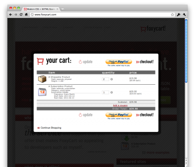 The FoxyCart cart as HTML in an iframe, in a Colorbox-generated modal window